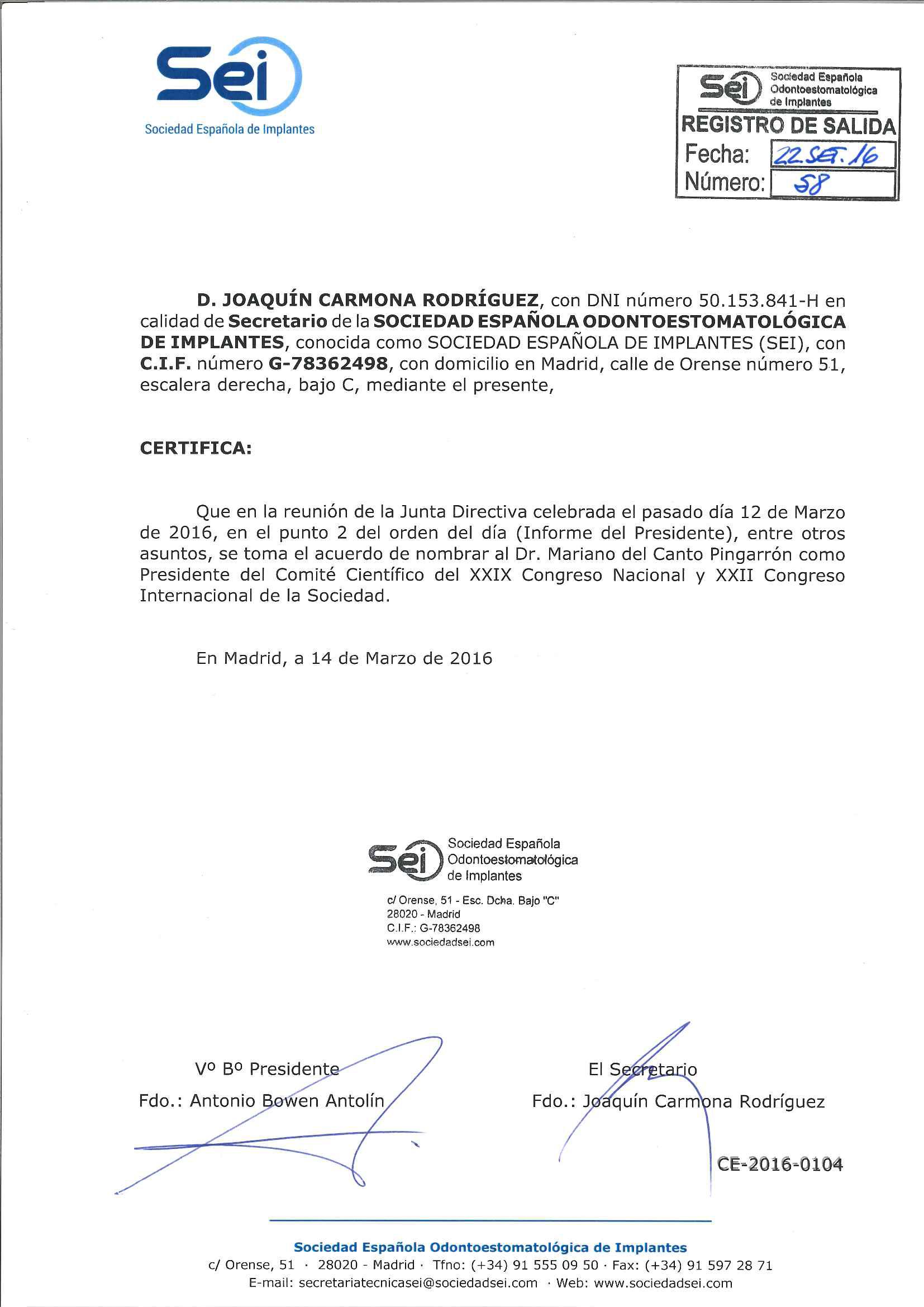 Dr. Mariano del Canto Pingarrón, nombrado Presidente del Comité científico del XXIX Congreso Nacional y XXII Congreso Internacional, de la Sociedad Española de Implantes
